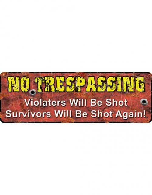 No Trespassing Small Tin Sign