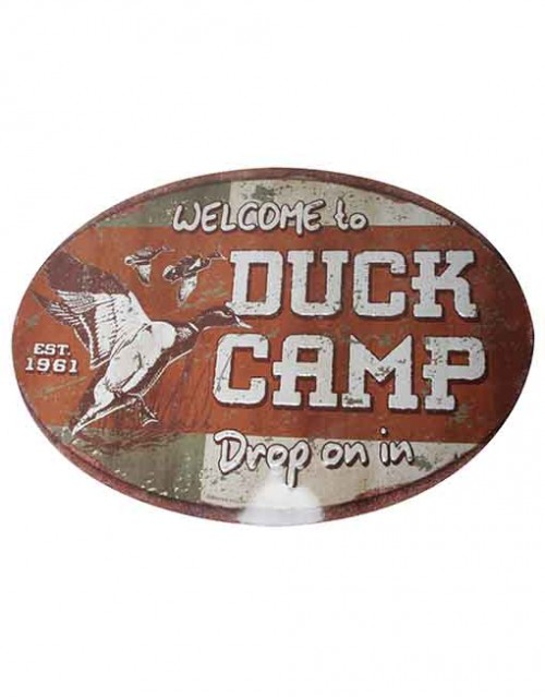 rivers edge tin sign duck camp