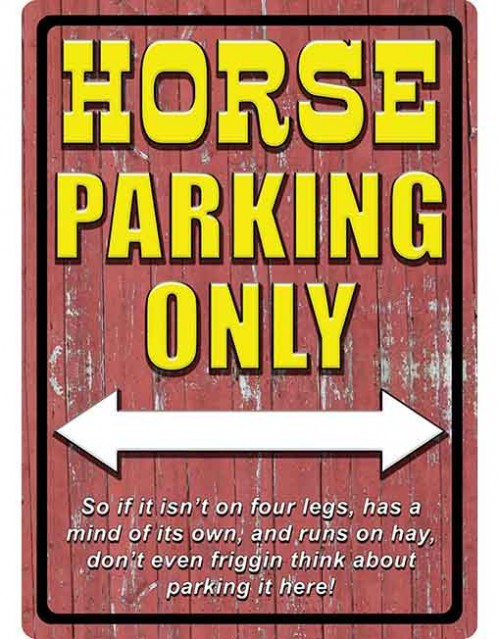 rivers edge tin sign horse parking only