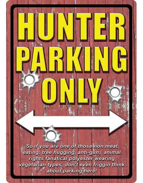 rivers edge tin sign hunter parking