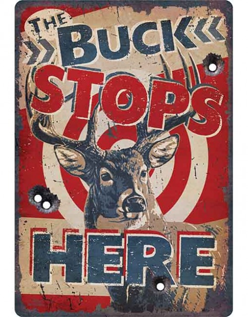 rivers edge tin sign the buck stops here