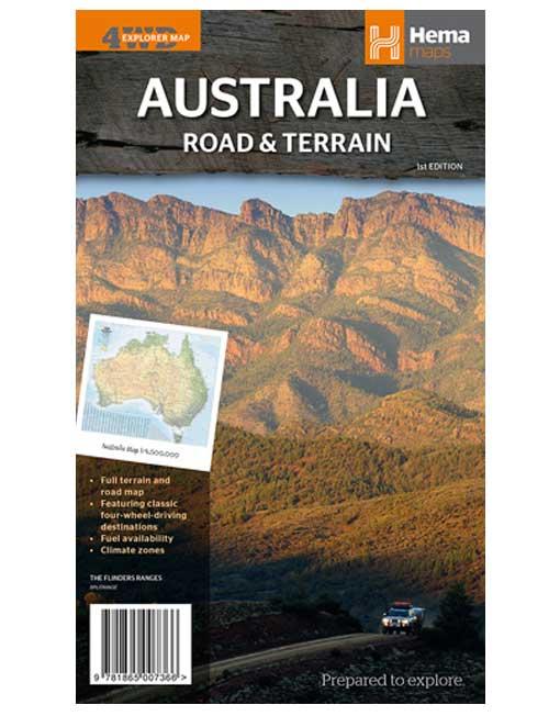Australia Road and Terrain Map